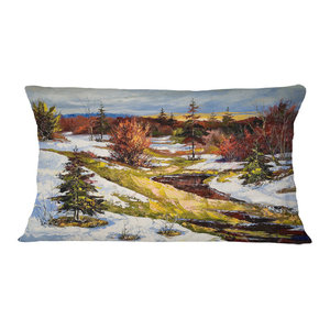 Designart CU6169-12-20 The Spring Siberian River Landscape Printed Throw Pillow 12 x 20