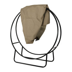 Sunnydaze Black Steel Outdoor Firewood Log Hoop with Khaki Cover - 48-Inch