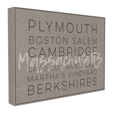 Stupell Industries -  #039;Massachusetts Berkshires Boston Salem #039;, Stretched Canvas, 16 quot;x1