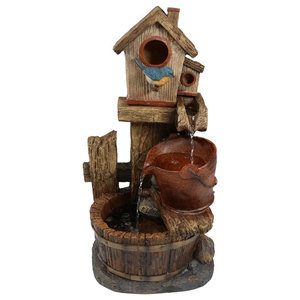 Water Fountains Outdoor Wood Barrel with Pump Large Garden Water Fountain Product SKU PL50001