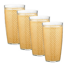 Kraftware Fishnet Double Wall Glasses, Camel, 24 oz, Set of 4