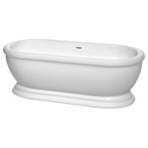 "Wyndham Collection Mary 68"" Soaking Bathtub, White With Brushed Nickel Trim"