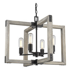 Golden Lowell 4-LT Chandelier 7808-4 BLK, Matte Black