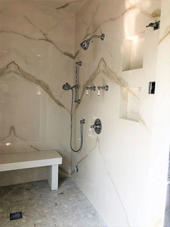 Anyone use thin porcelain large-format slabs on walls?