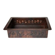 """33"""" Drop-in Single Bowl Floral Design Apron Hammered Copper Kitchen Sink"""