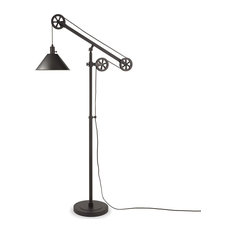 Floor Lamp, Pulley System With Bell Shaped Shade, Ajustable Height, Black