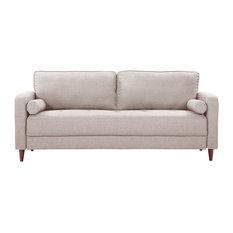 Mid Century Modern Linen Fabric Living Room Sofa, Beige
