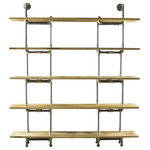 Furniture Pipeline - Eugene Modern Bookcase, Brushed Brass Gray Steel/Natural - Amp the aesthetics and functionality of your office or living space with this wall mounted pipe bookcase featuring a lightweight modern and industrial vintage design. Each component of the Eugene 5-Shelf Pipe bookcase/etagere is expertly crafted from the finest materials  including aircraft grade recyclable aluminum and sustainable reclaimed/aged finished solid Paulownia (looks like oak  lifts like cardboard!) wood. You'll love the ease of assembly and the edgy style this purposeful pipe bookcase brings to your interior spaces! This bookcase/etagere is lightweight and durable  easy to move around as needed  arriving at your doorstep with 100% recyclable packaging for a lifetime of enjoyment! Our modern industrial bookcases are available and ready for drop shipping  wholesale and B2B commercial accounts.