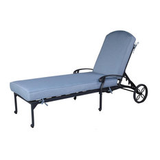 Bellvue Single Chaise Lounger With Cushion for Indoor and Outdoor Use, Light Blu