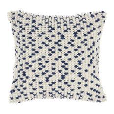 """Mina Victory Indoor/Outdoor Loop Dots Throw Pillow, Navy, 18""""x18"""""""