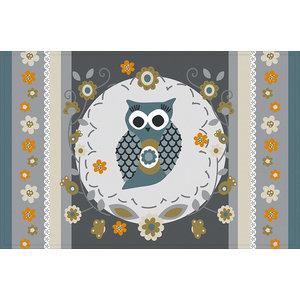 Owl Gallery Door Mat, Grey, Large