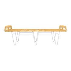 Pelopin Bench, Caramel Weave, White Frame