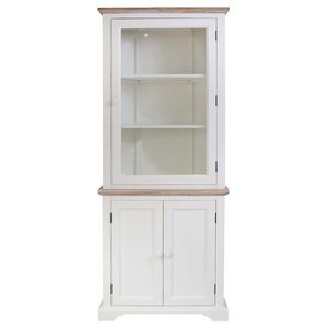 Corner Display Cabinet, Solid Wood With Glass Door and Inner Storage Shelves