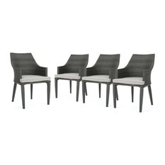 GDFStudio - Hilary Outdoor Wicker Dining Chairs, Gray/Light Gray, Set of 4 - Outdoor Dining Chairs