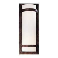 2-Light Wall Sconce, Iron Oxide With Etched White Glass