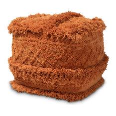 Idoya Moroccan Inspired Handwoven Cotton Pouf Ottoman, Orange
