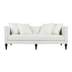 Stanbury Tufted Tuxedo Sofa with Accent Pillows, Antique White