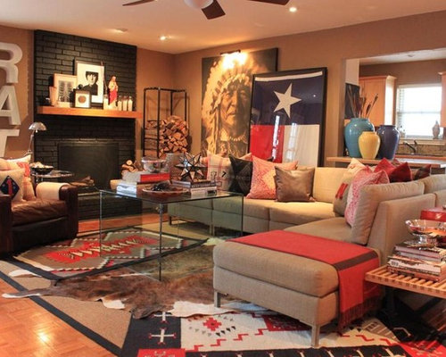 Inspiration For A Southwestern Living Room Remodel In Dallas With Standard Fireplace And Brick