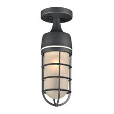 "PLC Lighting 8052 Cage 1-Light 4.5"" Outdoor Semi-Flush Ceiling Fixture, Bronze"