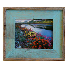 Barn Wood Picture Frame Lighthouse Robin Egg Blue Rustic Wood Frame, 11x14