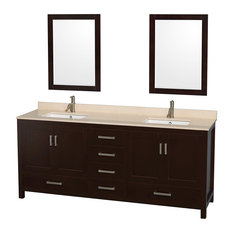 "Sheffield 80"" Espresso Double Vanity, Ivory Marble Top, Undermount Square Sink"