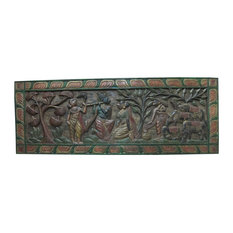 Mogul interior - Consigned Headboard Radha Krishna Gopis Carved Solid Wood Wall Panels Furniture - Wall Accents