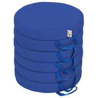 Softzone Round Floor Cushions With Handles, 6-Piece, Blue