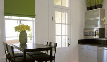 Roman Shade in Lime Green for San Francisco Kitchen