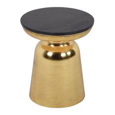 Jovana Round End Table, Black Granite, Gold