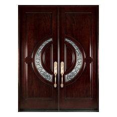 """M580E 32""""x80""""x2"""" Left hand swingin Exterior Front Entry Double Wood Door"""