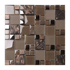 "Brown Glass Mosaic Kitchen Backsplash Tile, 12""x12"""