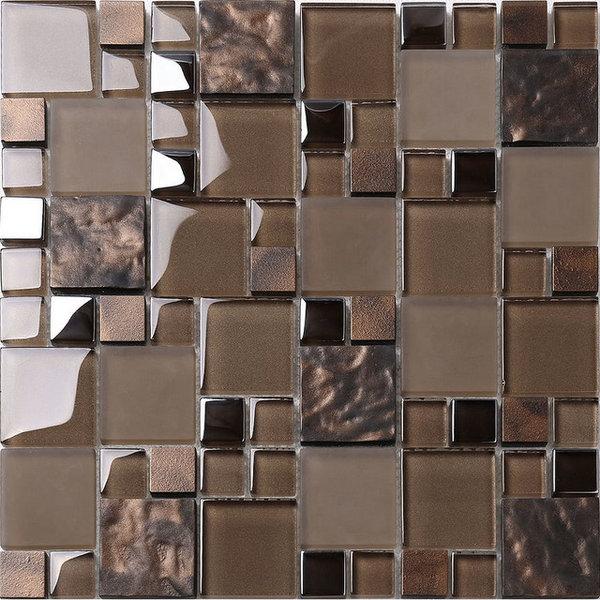 Brown Gl Mosaic Kitchen Backsplash Tile Contemporary