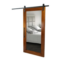 Real Solid Hardwood Sliding With Mirror Insert/Tropical Oak With Natural Stain,