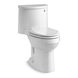 Kohler ADAir 1-Piece Elongated 1.28 GPF Toilet w/ Right-Hand Lever, White