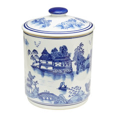 Blue and White Oriental Jar With Lid