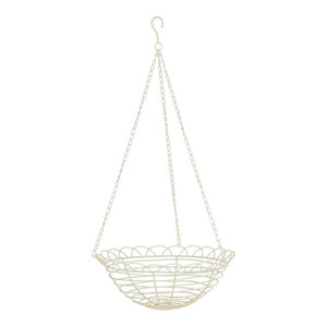 White Iron Hanging Planter, Small