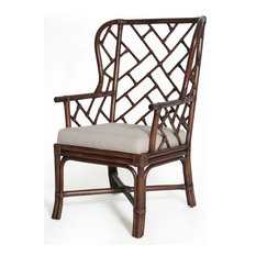 Palm Beach Chippendale Wing Chair, Mahogany, Unpainted