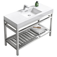 """Cisco 48"""" Stainless Steel Console With Acrylic Sink, Chrome, Chrome"""