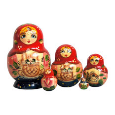 Russian 5 Piece Kitty Nested Doll Set