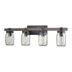 Ravenna Vintage Mason Jar Bathroom Vanity Lighting, 4-Light