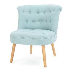 GDF Studio Donna Plush Modern Tufted Accent Chair, Light Blue