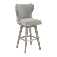 """Madison Park Hancock High Wingback Button Tufted 32"""" Swivel Stool With Accent"""