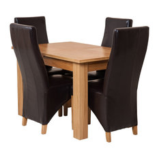 Hampton Oak Extending Dining Table With 4 Lola Chairs, Brown Leather