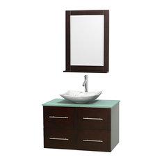 36 in. Single Bathroom Vanity in Espresso, Green Glass Countertop, Arista White