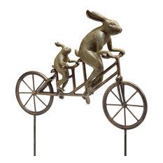 Tandem Bicycle Bunnies Garden Statue Indoor Outdoor