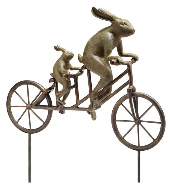 Tandem Bicycle Bunnies Garden Sculpture