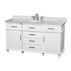 "60"" Single Bathroom Vanity in White With White Carrera Top"