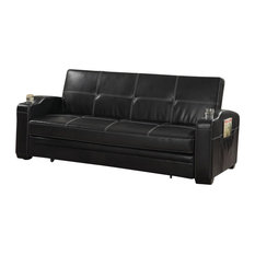 Coaster Home Furnishings Faux Leather Sofa Bed Sleeper Lounger With Storage Cup Holders Pop Up
