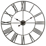 Aspire - Solange Round Metal Wall Clock - This attractive wall clock boasts a sleek design that blends with a variety of decorating styles. Crafted from iron with a distressed gray finish and featuring an open pass-through design. This large wall clock fits seamlessly into any home or office.