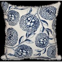"Antique Flowers, Floral Outdoor Pillow, Navy Blue, 18""x18"""